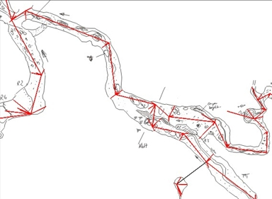 Die digitale Planskizze wird in der Höhle gezeichnet