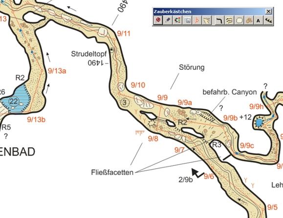 Der fertige Höhlenplan mit Zeichentool